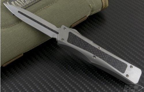 Microtech Knives Custom Stainless Steel Troodon D/E Automatic OTF D/A Knife (3.1in Mirror Polished Plain 154-CM) tr-ss-cf - Front