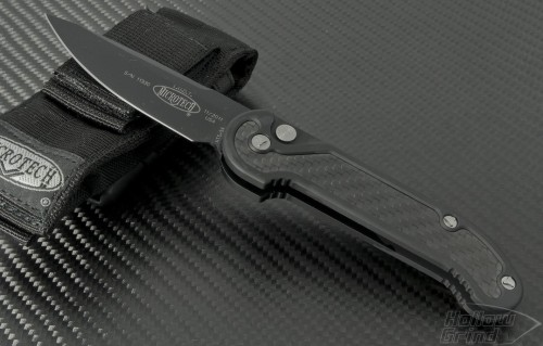 Microtech Knives LUDT S/E Automatic Folder S/A Knife (3.4in Black Plain ATS-34) 135-1CF - Front