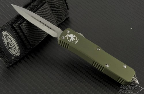 (#119-4GR) Microtech UTX-85 D/E OD Green Handle Satin Plain - Front