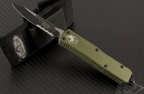 (#125-2GR) Microtech UTX-85 OD Green Handle Black Serrated - Front