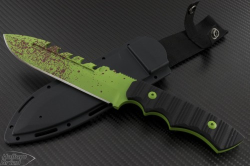 Brous Blades Coroner S/E Fixed Knife (6in Color Coated Part Serr D2) JB-Coroner-Zombie - Front