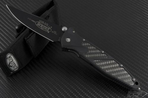 Microtech Knives Socom Elite S/E Folder Knife (4in Black Plain S35-VN) 160-1CF - Front