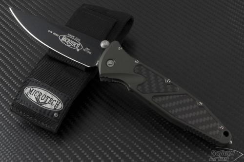 Microtech Knives Green Socom Elite S/E Folder Knife (4in Black Plain S35-VN) 160-1GR - Front