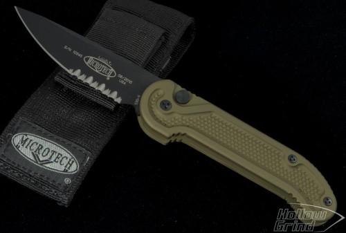 (#135-2GT) Microtech LUDT OD Green Handle Black Serrated Tactical - Front