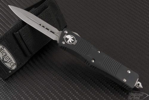 Microtech Knives Troodon D/E Automatic OTF D/A Knife (3.1in Stonewashed Plain D2) 138-10-2013 - Front