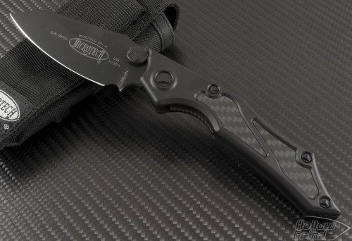 Microtech Knives Select-Fire S/E Folder Knife (3.73in Black Plain S35-VN) 129-1T - Front