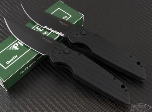 Pro-Tech TR3 S/E Automatic Folder S/A Knife (3.5in Black Part Serr 154-CM) PT-TR3SWAT - Front