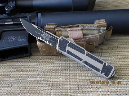 Microtech Navy Seals Scarab - Tan Handle - Partially Serrated - Additional View