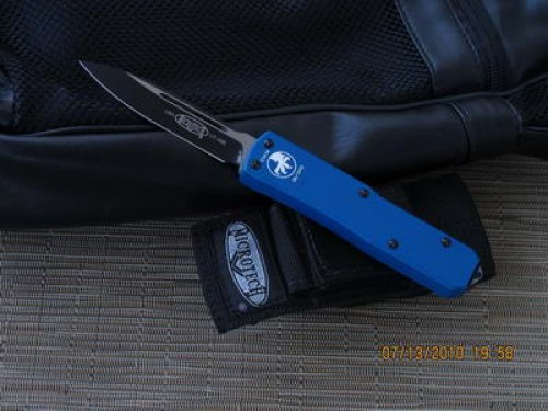 Microtech UT-X85 - BLUE Handle - Black Plain Blade - Front
