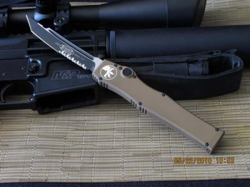Microtech Halo V - TAN - Tactical Tanto - Partially Serrated - Additional View