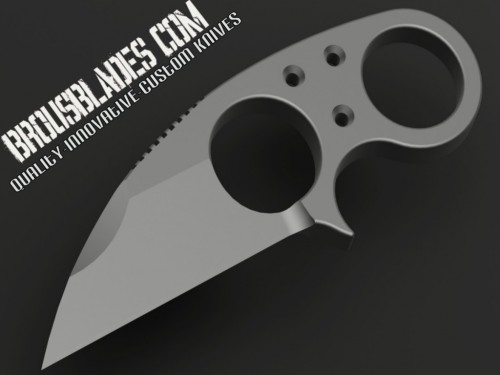 Brous Blades Metal Silent Soldier Warncliffe Fixed Knife (2.1in Stonewashed Plain D2) JB-SS-V1 - Front