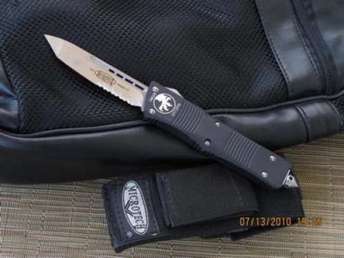 Microtech Knives Troodon T/E Automatic OTF D/A Knife (3.1in Satin Part Serr D2) 140-5-2014 - Front