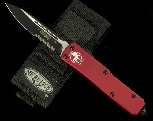 (#125-2RD) Microtech UTX-85 Red Handle Black Serrated - Front