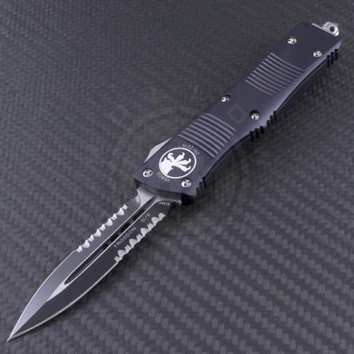 Microtech Knives Troodon D/E Automatic OTF D/A Knife (3.1in Black Part Serr ELMAX) 138-2 - Front
