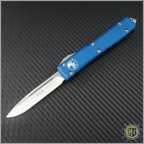(#121-10BLCC) Microtech Ultratech S/E Stonewash Plain w/ Blue Contoured Handle - Front