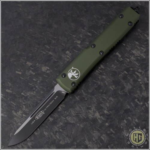 (#121-1OD) Microtech OD Green Ultratech S/E Black Plain - Front
