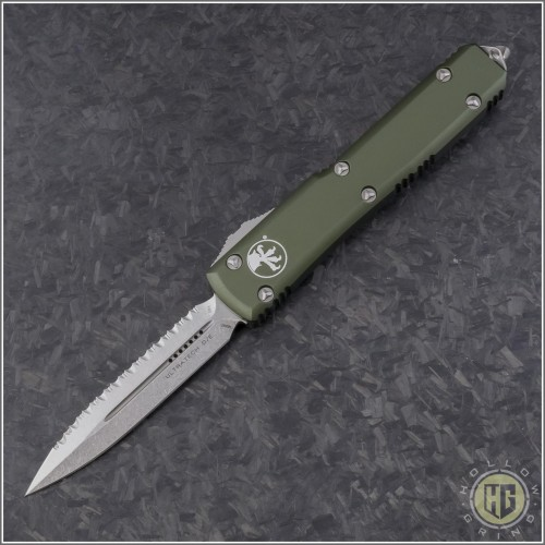 (#122-12OD) Microtech OD Green Ultratech Stonewash D/E Fully Serrated - Front