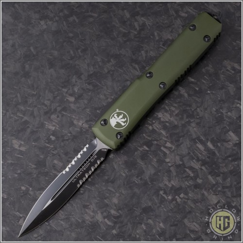 (#122-2OD) Microtech OD Green Ultratech D/E Black Partially Serrated - Front