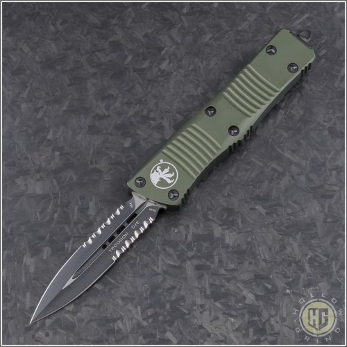 (#138-2OD) Microtech Troodon D/E Black Partially Serrated w/ OD Green Handle - Front