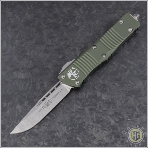 (#139-10OD) Microtech OD Green Troodon S/E Stonewash Plain - Front