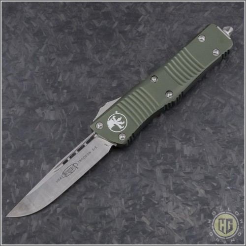 (#139-4OD) Microtech OD Green Troodon S/E Satin Plain - Front