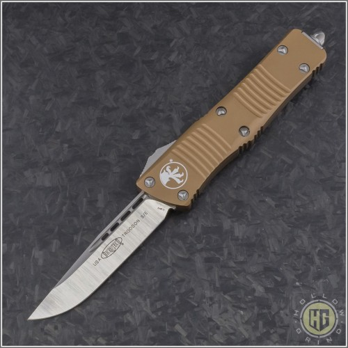 (#139-4TA) Microtech Troodon S/E Satin Plain with Tan Handle - Front