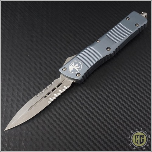 (#142-11APGY) Microtech Gray Combat Troodon D/E Apocalyptic Partially Serrated - Front