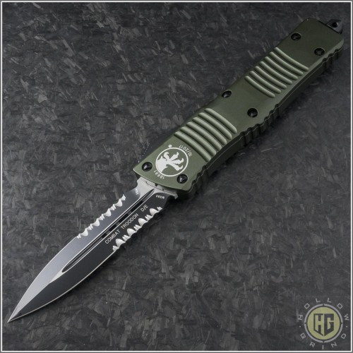 (#142-2OD) Microtech OD Green Combat Troodon D/E Black Partially Serrated Tactical - Front