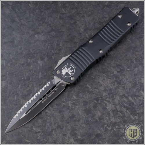 (#142-3) Microtech Combat Troodon D/E Black Fully Serrated - Front