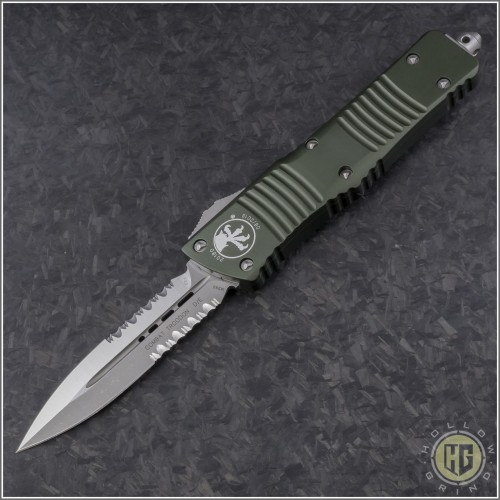 (#142-5OD) Microtech OD Green Combat Troodon D/E Satin Partially Serrated - Front