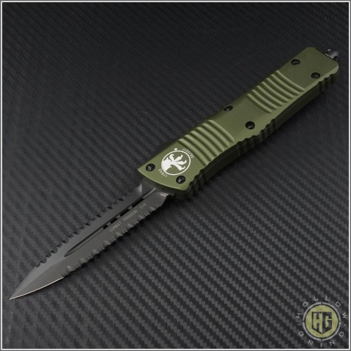 (#142-D3DLCOD) Microtech OD Green Combat Troodon D/E DLC Double Fully Serrated - Front