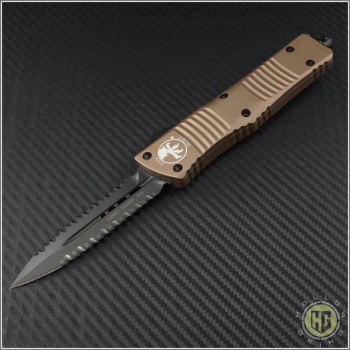 (#142-D3DLCTA) Microtech Combat Troodon D/E Tan DLC Double Fully Serrated - Front