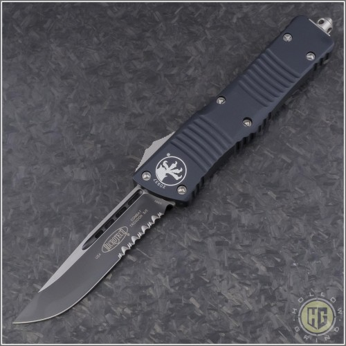 (#143-2) Microtech Combat Troodon S/E Black Partially Serrated - Front