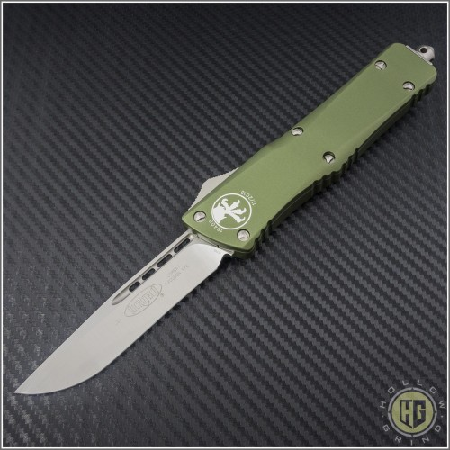 (#143-4SOD) Microtech OD Green Combat Troodon S/E Satin Plain - Smooth Handle - Front