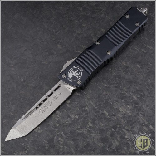 (#144-10) Microtech Combat Troodon Tanto Stonewash Plain  - Front