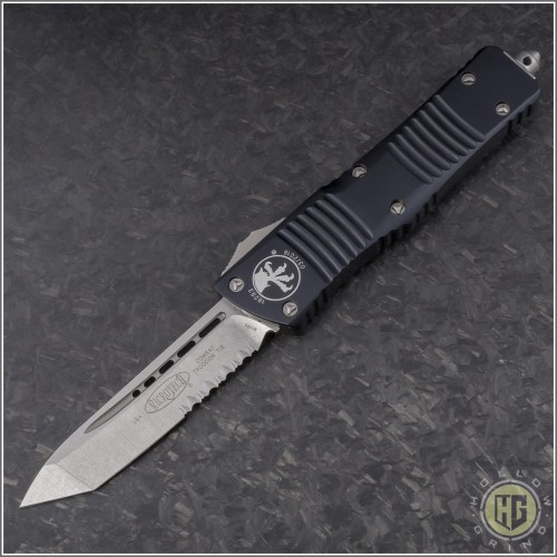 (#144-11) Microtech Combat Troodon Tanto Stonewash Partially Serrated - Front