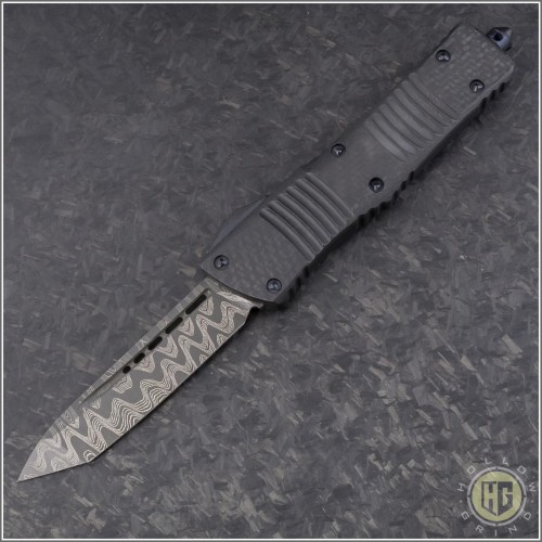 (#144-16CFTI) Microtech Combat Troodon T/E Damascus Plain w/ CF Top and Ti Hardware - Front