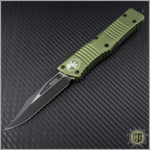 (#146-1OD) Microtech Combat Troodon Black Bowie Standard w/ OD Green Handle - Front