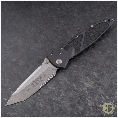 (#161-11) Microtech Socom Elite M/A Stonewash Tanto Serrated - Front