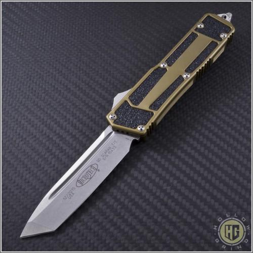 (#179-10TA) Microtech QD Scarab T/E (Tanto) Stonewash Plain w/ Tan Handle - Front