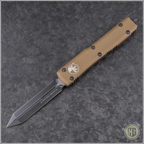 (#223-1TA) Microtech Tan Spartan Ultratech D/E Black Plain - Front