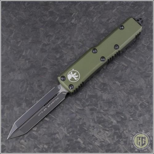(#230-1OD) Microtech OD Green UTX-85 Spartan Black Plain - Front