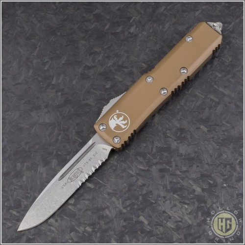 (#231-11TA) Microtech Tan UTX-85 S/E Stonewash Part Serrated - Front