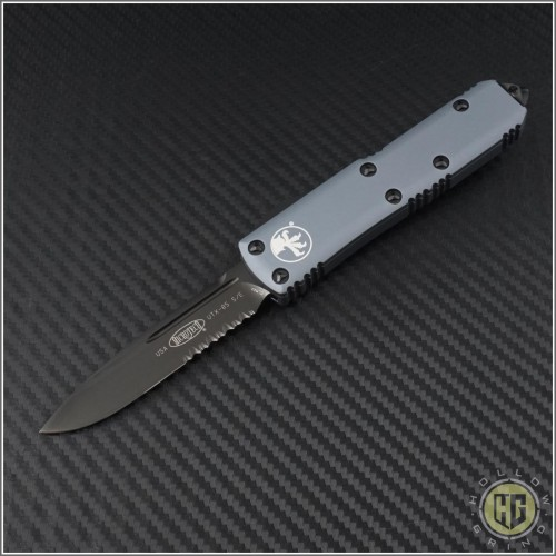 (#231-2DLCGY) Microtech Gray UTX-85 S/E Black DLC Part Serrated - Front