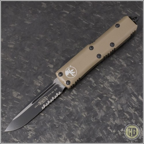 (#231-2TA) Microtech UTX-85 S/E Black Plain w/ Tan Handle - Front