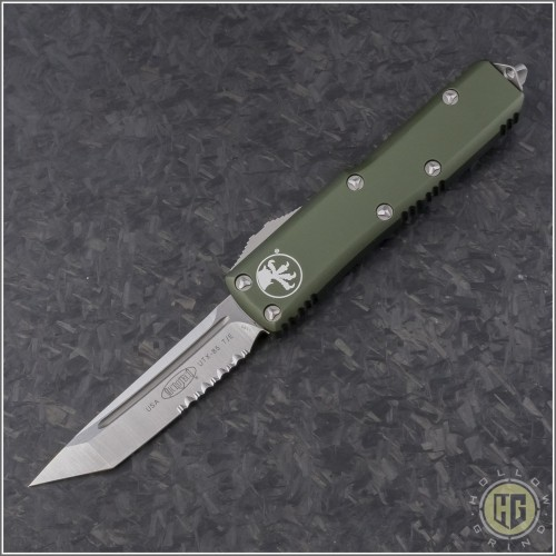 (#233-5OD) Microtech UTX-85 T/E Satin Partially Serrated w/ OD Green Handle - Front
