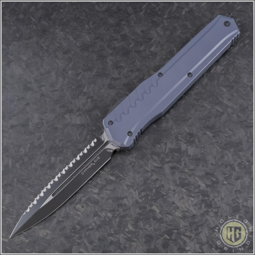 (#242M-3GY) Microtech Grey Cypher MK7 D/E Black Full Serrated - Front