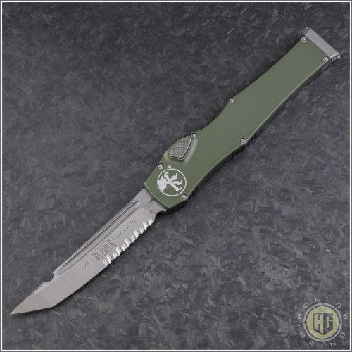 (#250-5ODNS) Microtech OD Green Halo VI T/E Satin Part Serrated No Safety - Front