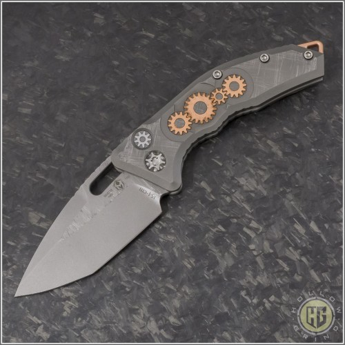 (#H011-TI-3A-CS) Heretic Knives Geared Cinder Scarred Martyr Auto T/E Double Blast - Front