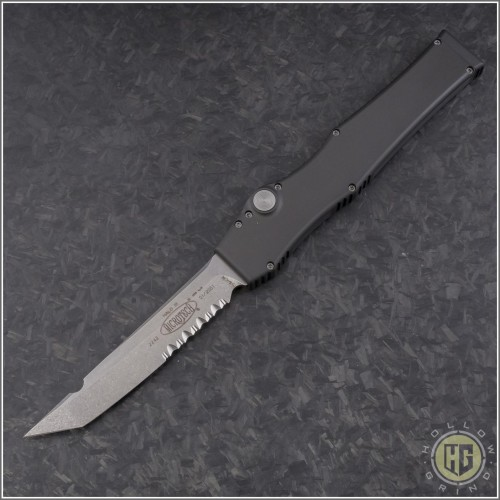 (#HG-0110) Microtech Halo III T/E Stonewash Part Serrated - Front